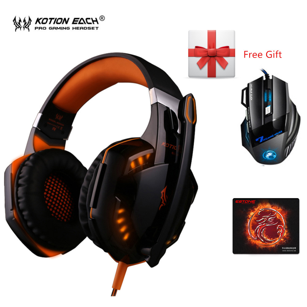 3pcs/combo Kotion EACH G2000 Gaming Headset Headphones with iMICE X7 2400dpi Mic + Mousepad for PC Gamer each g1100 shake e sports gaming mic led light headset headphone casque with 7 1 heavy bass surround sound for pc gamer