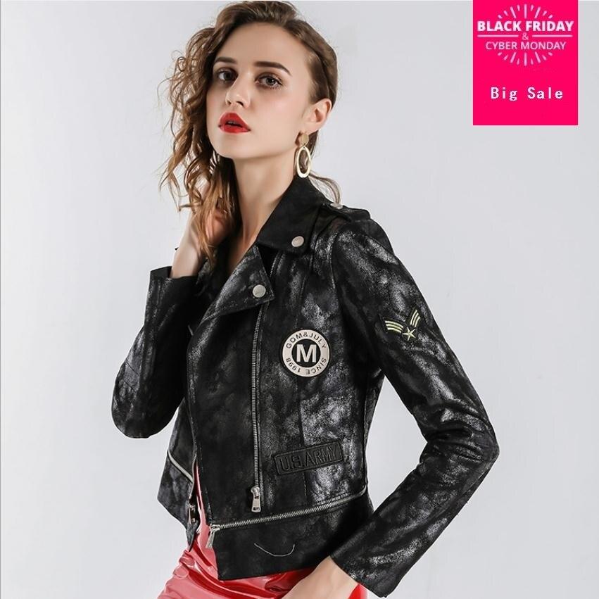 2019 autumn fashion brand fake sheep   leather   pu jackets female elegant black long sleeve with velvet badge   leather   jacket wq221