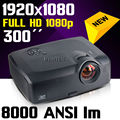 Business Home Theater Cinema 300inch 8000ANSI Native 1080p full HD 1920x1080 Video Digital DLP Projector Proyector
