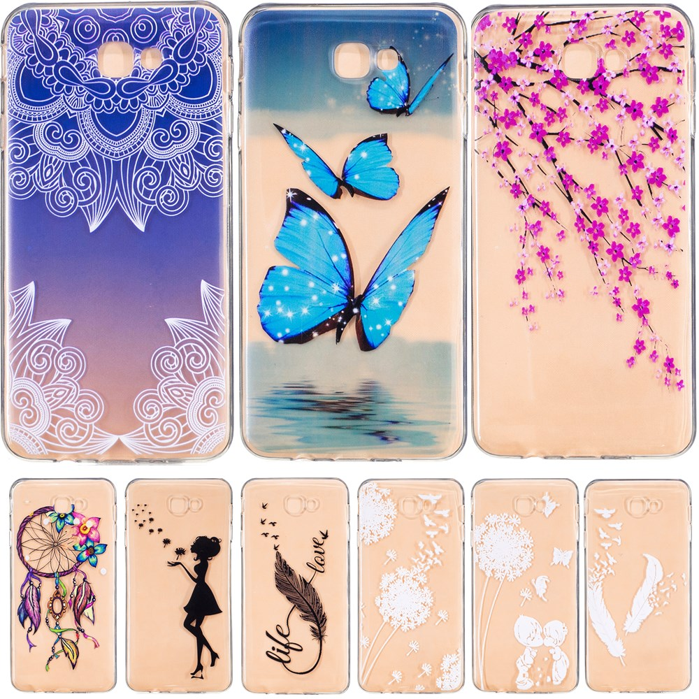 Soft TPU Case For Samsung Galaxy J7 Prime Soft Clear Hollow Butterfly Feather Silicone Back Cover For Samsung J7 Case On7 2016