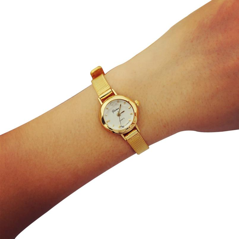 Women Watches Reloj Mujer Fashion Casual Alloy Quartz Wristwatches Gold Analog Wrist Watch 18FEB5 2016 new fashion casual simple women s wrist watch analog quartz watches unisex round rose red dial leather solid reloj mujer