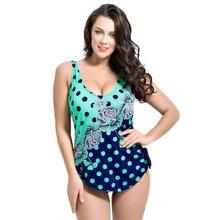Latest ! Vintage Pad Swimwear Women Retro Plus Size One Piece Swimsuit Dress 4XL Floral Dot Backless Soft Bathing Suit F1692