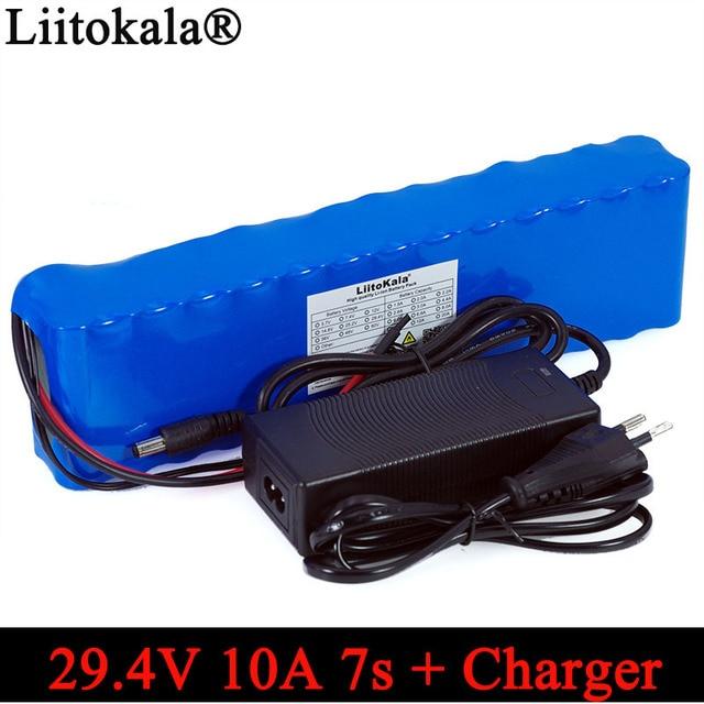 Liitokala 24V 10ah 7S4P batteries 250W 29.4v 10000mAh batterie 15A BMS pour moteur chaise ensemble alimentation électrique + 29.4V 2A chargeur