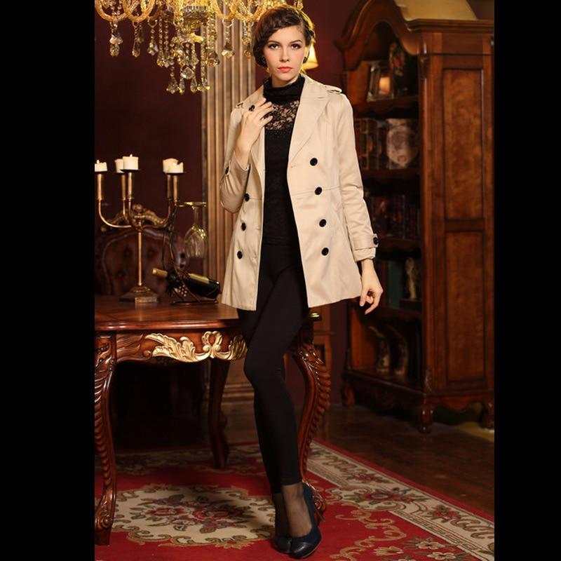 Dámský kabát trenčkot kabát bavlněný kabát V-výstřih s dlouhým rukávem s dvojitým poprsím Dlouhé elegantní štíhlé ženské svrchní oblečení