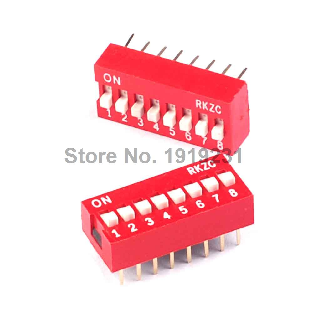 2PCS/Lot 8 PIN DIP Switch 8P 2.54mm Toggle Switch Red Snap Switch