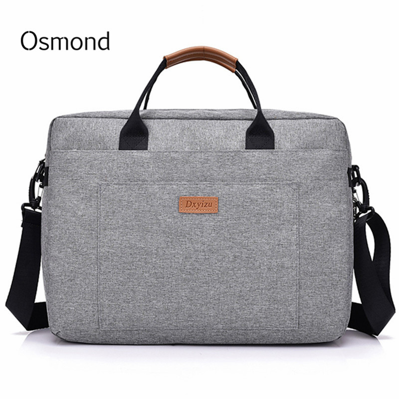 Osmond Women Men Canvas Briefcase 16 inch Laptop Shoulder Bag For Female Male Handbag Business Computer Bag Travel Large Tote jacodel business large crossbody 15 6 inch laptop briefcase for men handbag for notebook 15 laptop bag shoulder bag for student