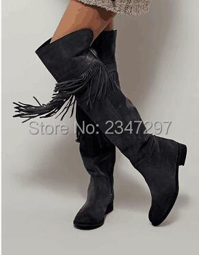 New Arrival Autumn Winter Women Fringe Low Heels Long Boots Woman Spring Autumn Tassel Knee High Boots Celebrity Style Shoes