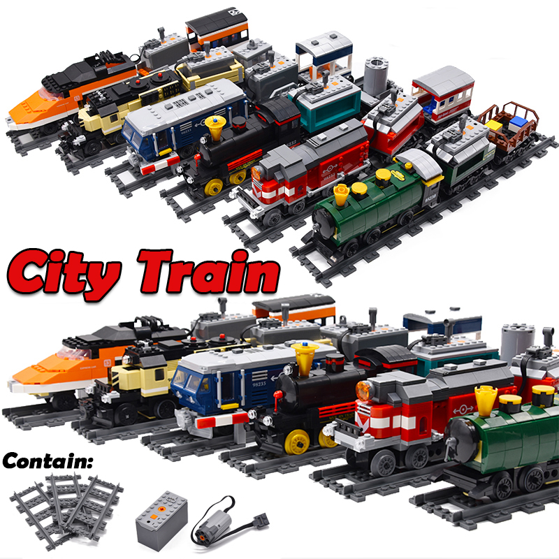 2019 New KAZI legoing City Train Technic Electric with Rail Building Blocks Bricks Technician Tech Creator MOC Toys For Children2019 New KAZI legoing City Train Technic Electric with Rail Building Blocks Bricks Technician Tech Creator MOC Toys For Children