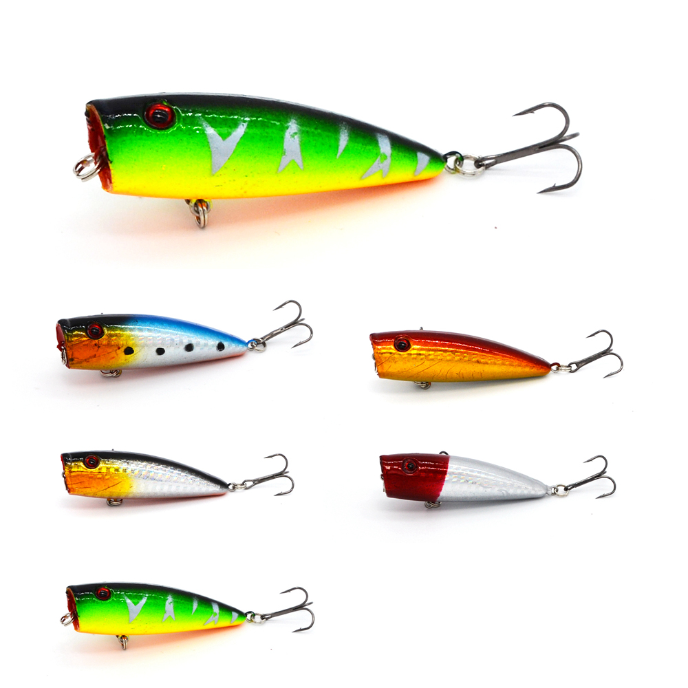 1Pcs/bag 6.5cm 9.1g Top Water Floating Lure Popper Artificial Bait Fishing Lures Pooper two Hooks 3D Fish Eye Poper Fake Lure