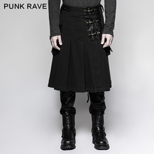 PUNK RAVE Steampunk Rock Black Mens Skirt Fashion Gothic Pants with Pocket Stage Performance Cosplay Costume