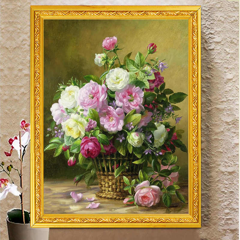 Needlework,DIY Cross stitch,set for full embroidery kit,noble vase rose peony flower printed pattern cross stitch handwork gift