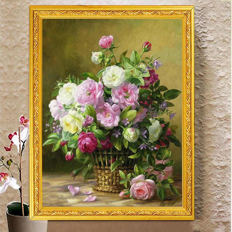 Handwerken, Diy Kruissteek, Set Voor Vol Borduurwerk Kit, noble Vaas Rose Pioen Bloem Gedrukt Patroon Kruissteek Handwerk Gift