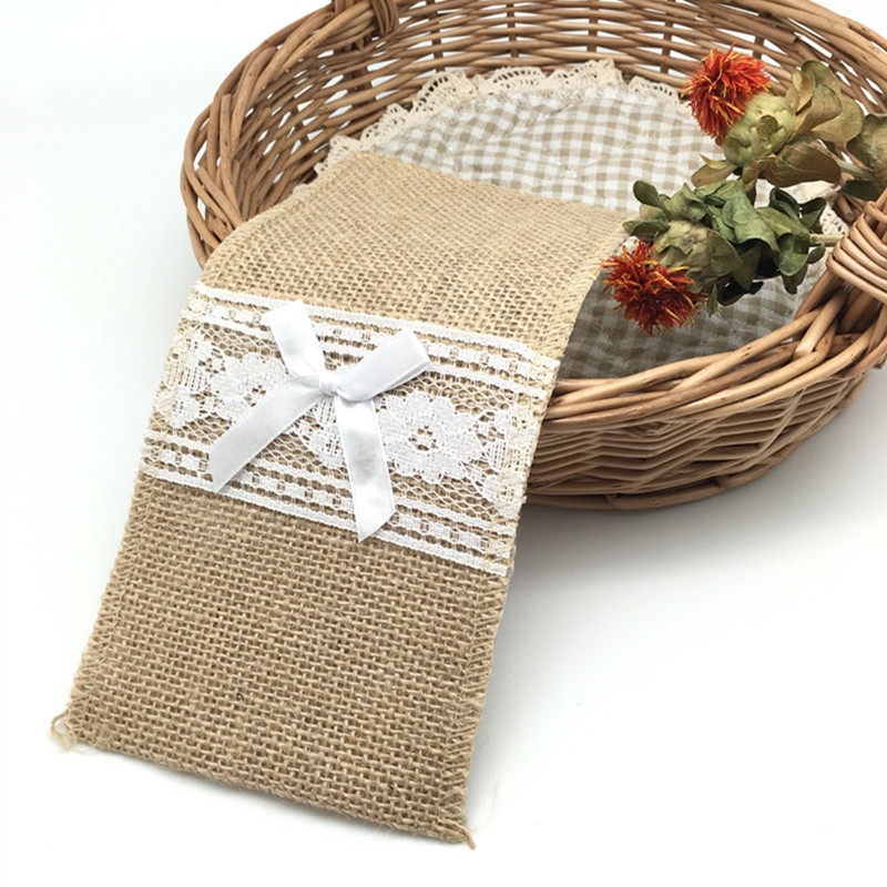 10pcs Natural Jute Burlap Cutlery Holders Packaging Fork and Knife for Wedding , Party Decoration 11*21cm AA8016