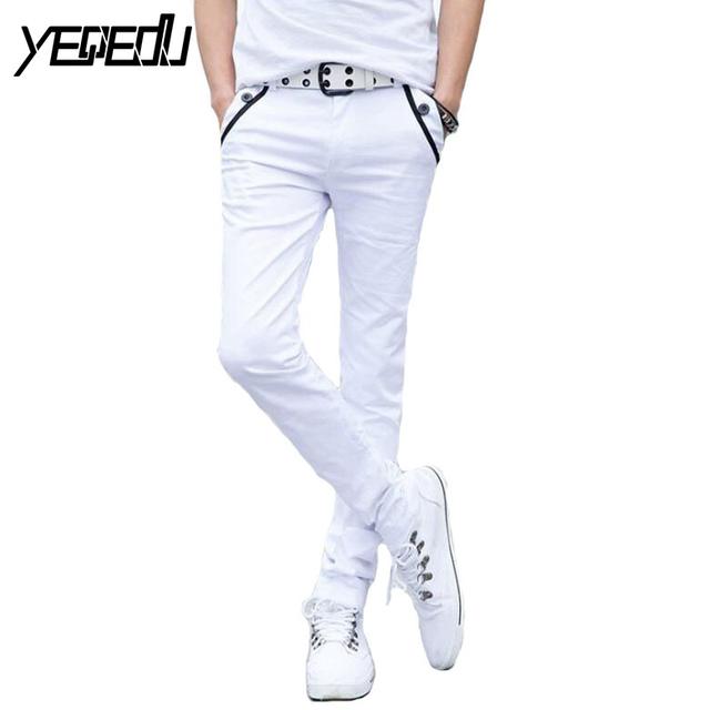 #2802 Negro/Blanco estilo lápiz pantalones Ocasionales de los hombres pantalones Flacos Delgados de Moda de Verano 2017 Algodón Pantalon homme pantalones joggers delgado