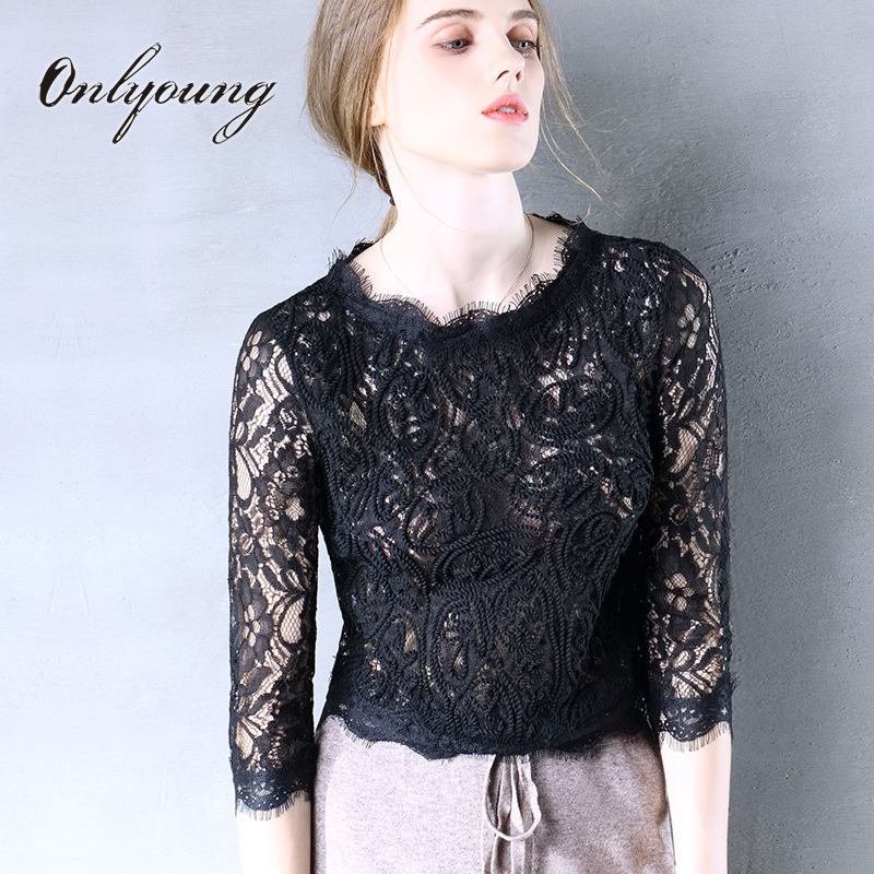 Onlyoung 2017 Summer Elegant Women Black Lace Blouse Sexy Top Chemise Femme Short Female Lace Crochet Blouse Shirt