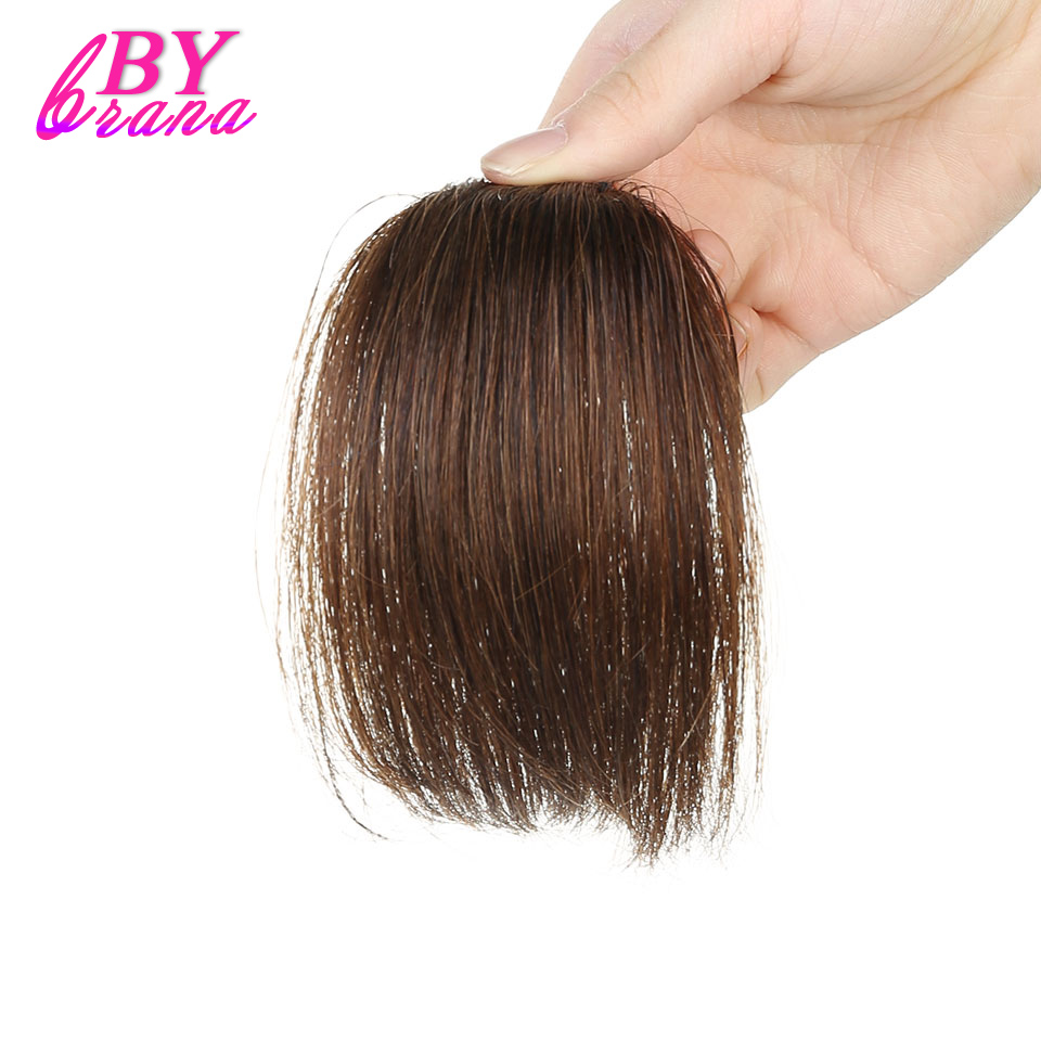 Bybrana Light Brown Color Clip In Human Hair Extensions 100% Human Remy Hair Front Neat Bangs Free Shipping