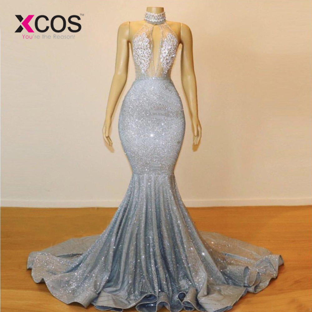 Us 1305 10 Offxcos 2019 Sparkly Silver Sheer High Neck Mermaid Prom Dresses Long Lace Sequins Beaded Backless Chic Evening Gowns Formal Party In