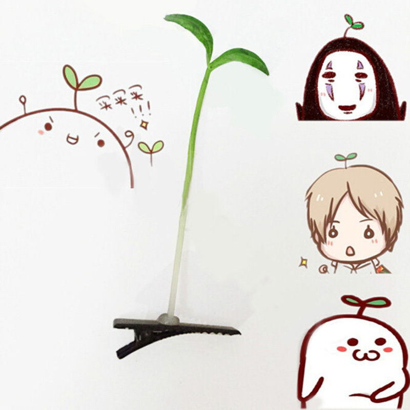 clasp antenna hairpins 4*6cm hair pin bean sprout   headwear   Novelty grass clips popular   headwear