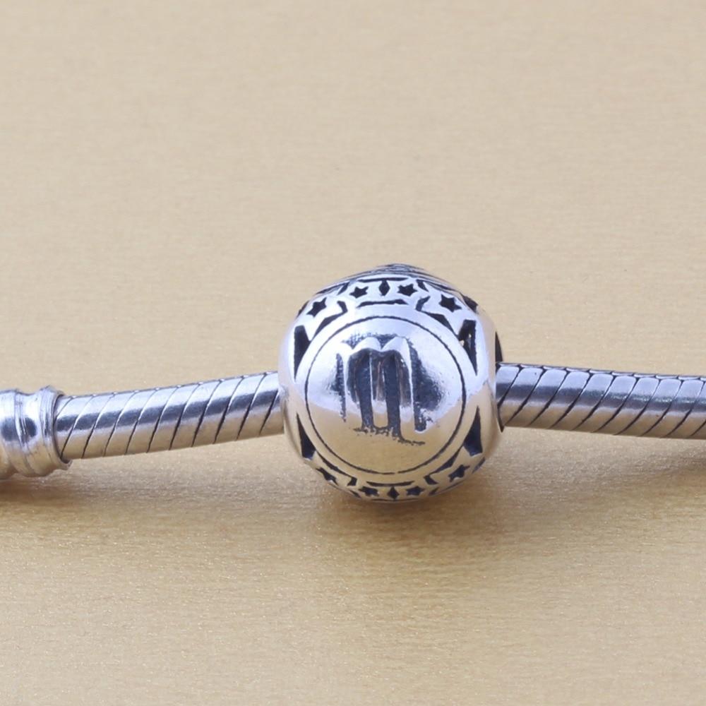 ZMZY Jewelry 12 Zodiac Scorpio Constellations 100% 925 Sterling Silver Charms Beads Fits Pandora Charms Bracelet