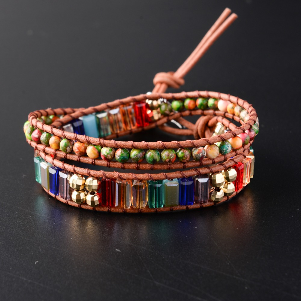 New Chakra Bracelet Fashion Jewelry Natural Stone Bead Handmade Crystal Leather Bracelet Wrap Bracelet HandWork Drop