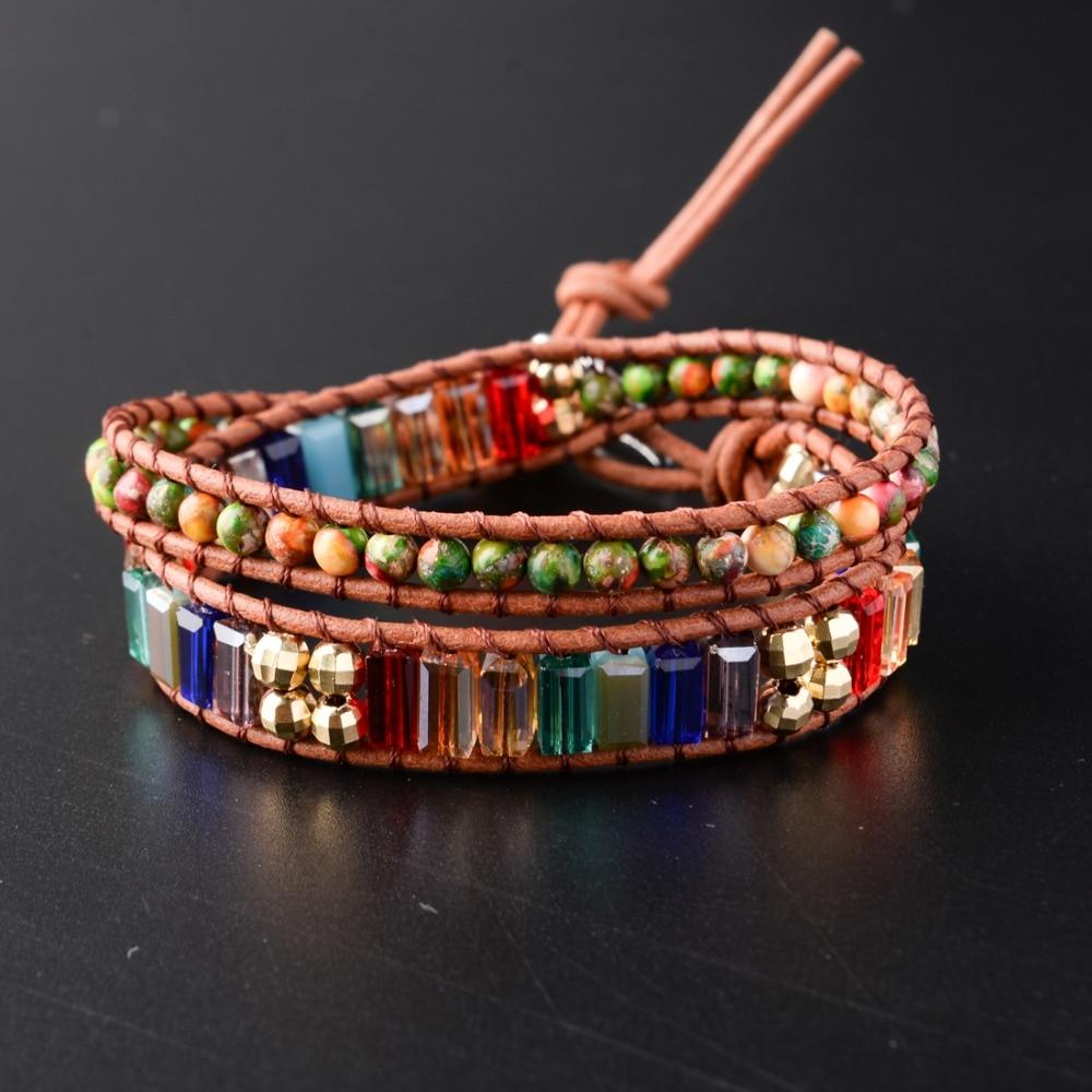 Новый чакра браслет модные украшения натуральный камень шарик ручной работы кожаный браслет с кристаллами обёрточная бумага ручной работы...