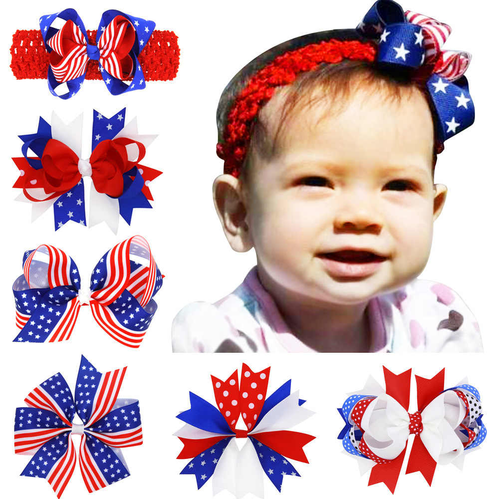 4th of July Baby Girls Hair Bows Alligator Clip Hair Accessories American Flag Striped Hair Band Kids Patriotic Bow Headbands