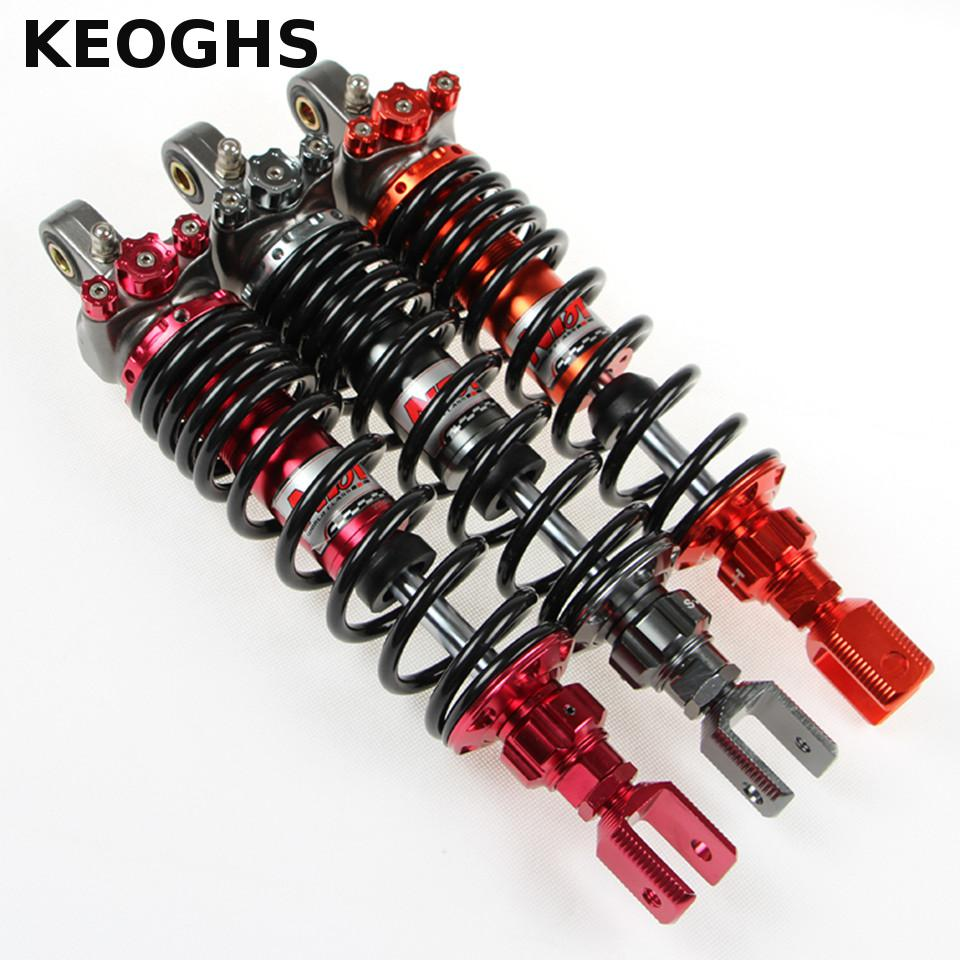 KEOGHS Motorcycle Rear Shock Absorber Cushion Three Buttons Decoration Inflatable 320mm Hole Spacing For Honda Scooter Motorbike keoghs shock absorbers refit parts heightening device for motorcycle scooter damper shock absorber height increase