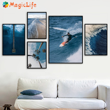 Blue Sea Nordic Landscape Decor Wall Art Surfing Canvas Painting Beach Posters Sandy beach Pictures Unframed