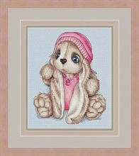 Needlework  14CT 16CT Cross Stitch, DIY Count Embroidery Set,Pink cap rabbit