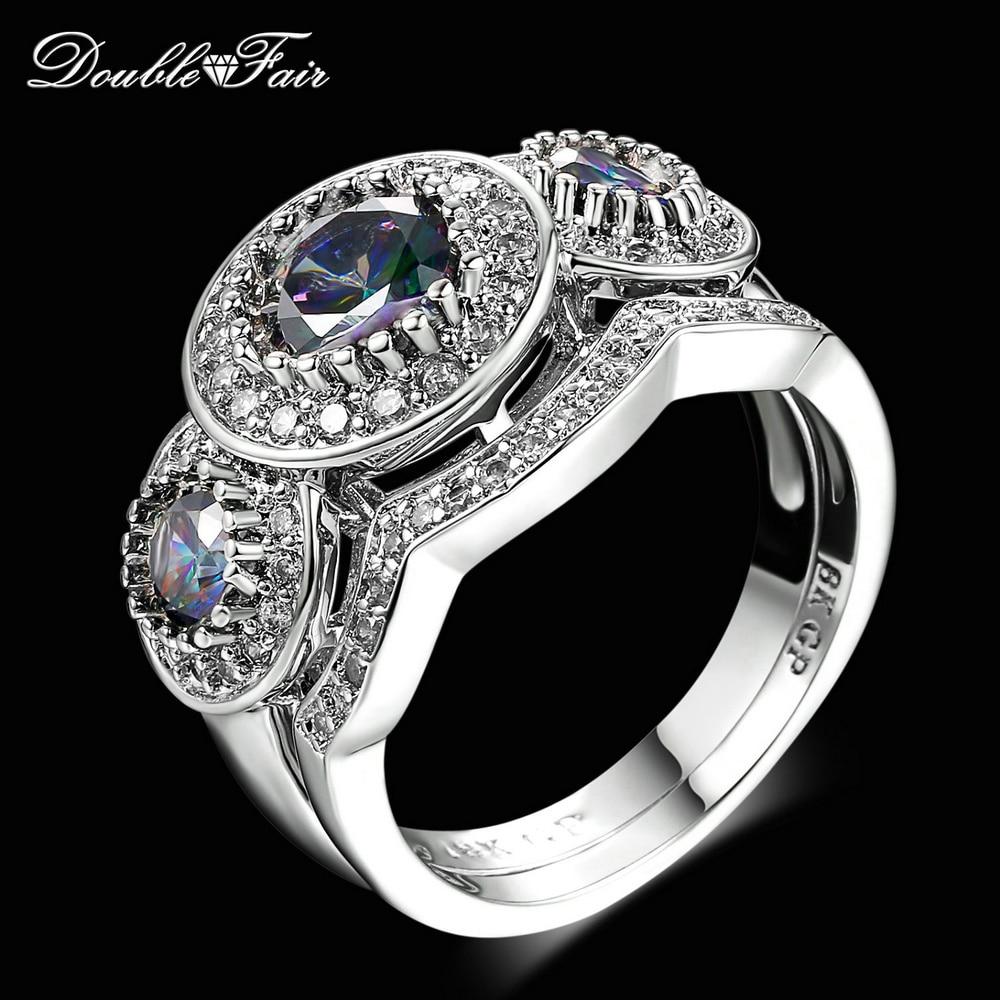 Double Fair Top Quality Round Cut Purple Black Cz Stone Ring Sets Silver  Color Fashion Cocktail