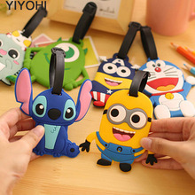 YIYOHI Cute Travel Accessories Luggage Tag Suitcase Cartoon Style Minions Cat Fashion Silicon Portable Label