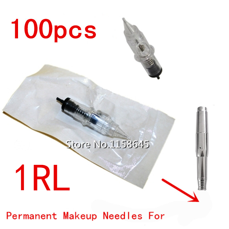 100Pcs 1RL Top Quality Professional Sterilized Disposable Permanent Makeup Needles Tattoo Manual Machine Tips For Eyebrow Lip
