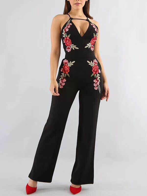 High Quality White Black Flower Print Rayon Bandage Jumpsuit Sexy Fashion Cocktail Party Jumpsuit A-15