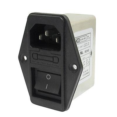 AC115V/250V 10A Panel Mount IEC 320 C14 EMI Filter w Boat Switch w Fuse Holder 20pcs ac250v 10a iec 320 c14 inlet panel socket w fuse w red light rocker switch with 250v 5a fuse