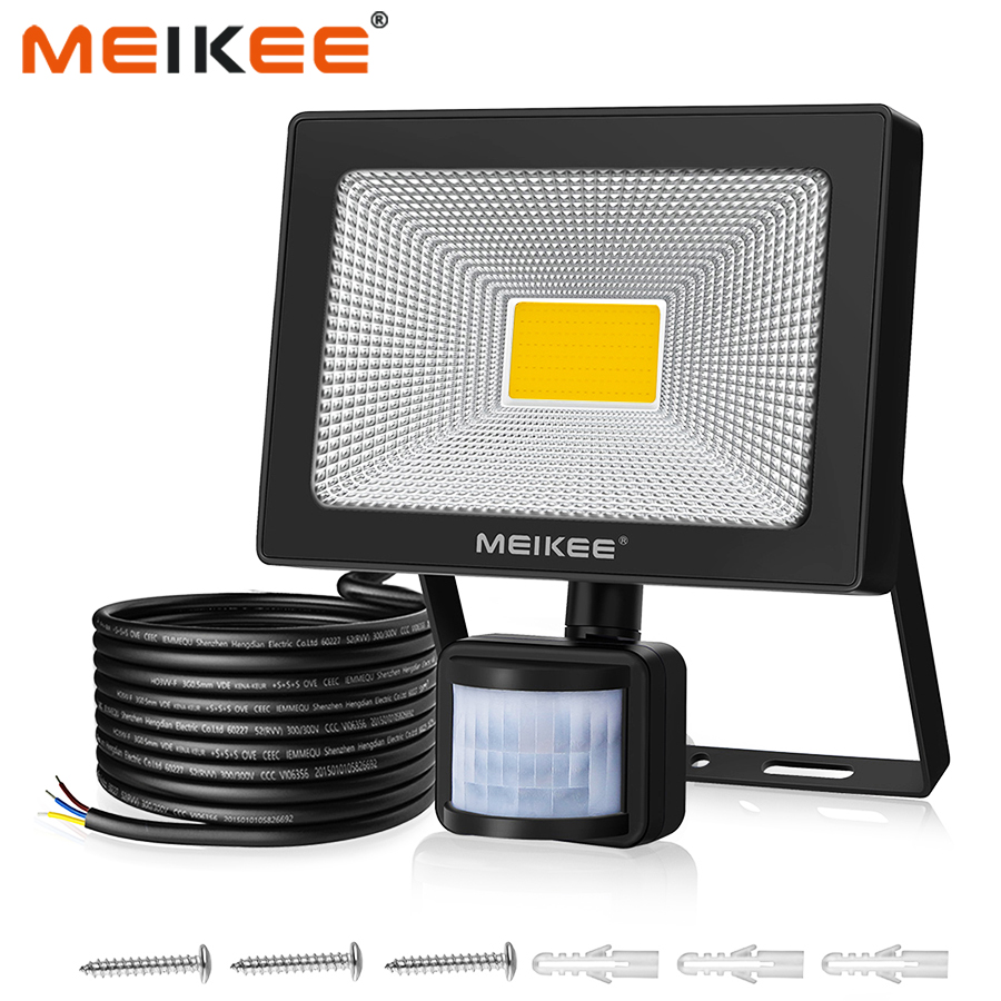 MEIKEE 50W LED Flood Light With Motion Sensor Waterproof AC110V 220V PIR