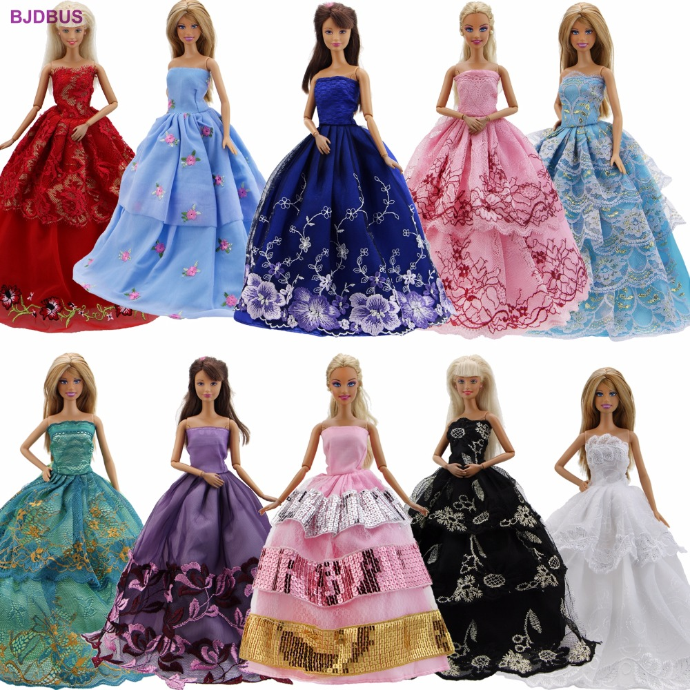 Random 5 Pcs Dresses Handmade Wedding Party Princess Gown Mixed Style Outfit Clothes For Barbie FR Kurhn Doll Accessories Gift
