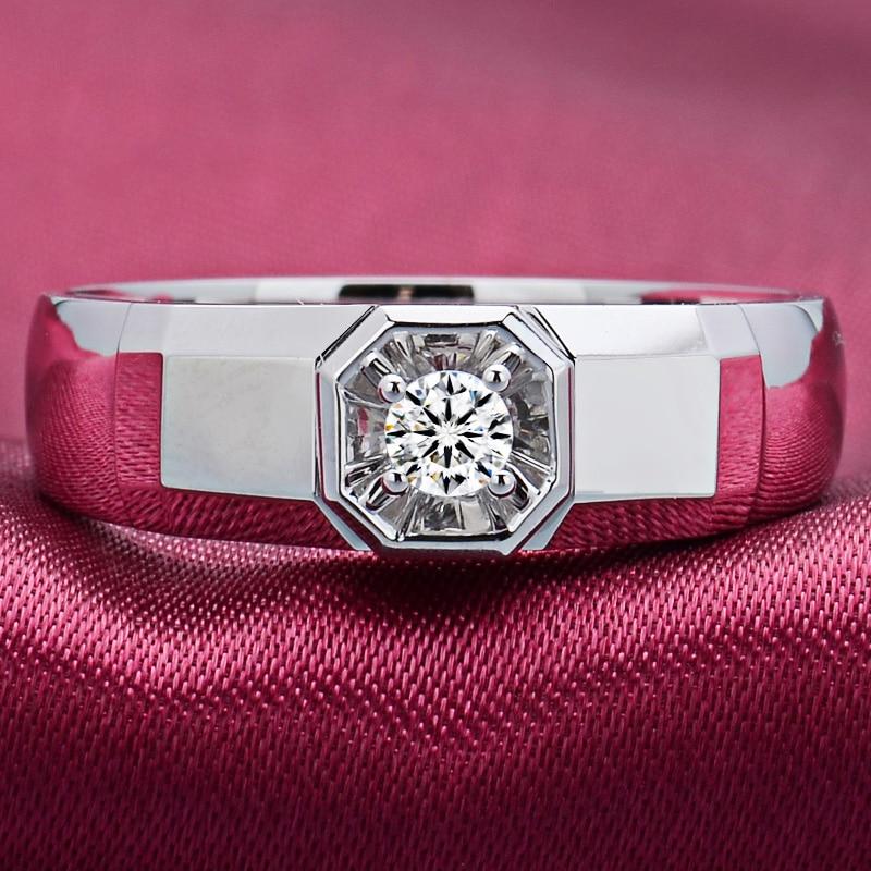 Diamond Solitaire for Men 0.10ct Natural Diamond 18K White Gold Handmade Wedding Engagement Fine Jewelry