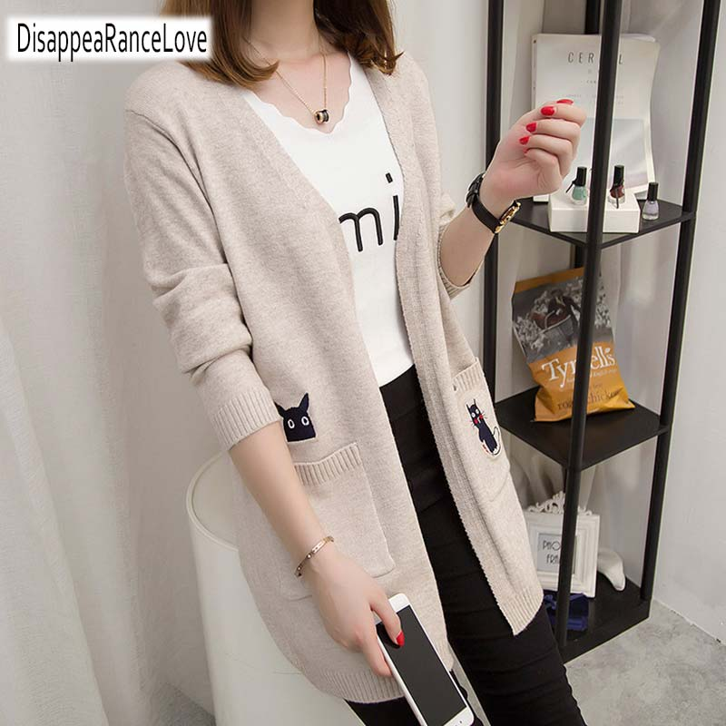 2019 Casual Long Knitted Cardigan Autumn Korean Elegant Women Loose Solid Color Pocket Outwear Sweater Jacket Cape Cartoon Top