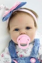 55cm 22inch Soft Silicone Reborn Baby Dolls Handmade Baby Pacifier Lifelike Realistic Dolls for girls brinquedos