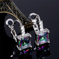 Free Shipping Silver Womens Multicolor Square Cubic Zirconia Unique hoop earrings