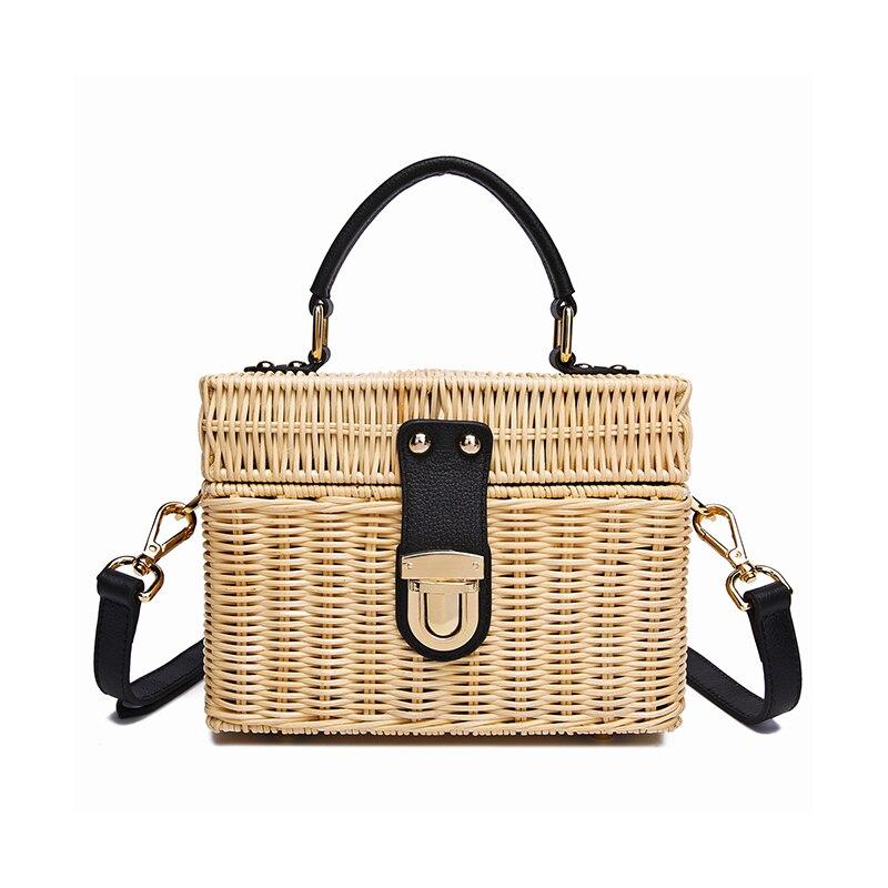 2019 nouveau sac à bandoulière pour femmes sac en rotin rétro petit sac carré tissé à la main sac de voyage de vacances en cuir véritable de haute qualité