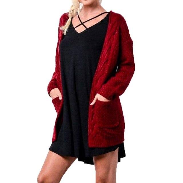 Dài Tay Áo Len Cardigan Nữ Mở Nữ Thời Trang Thời Trang Quần Áo Mùa Đông Nữ Đỏ Khaki Đen Áo Len Dệt Kim F3