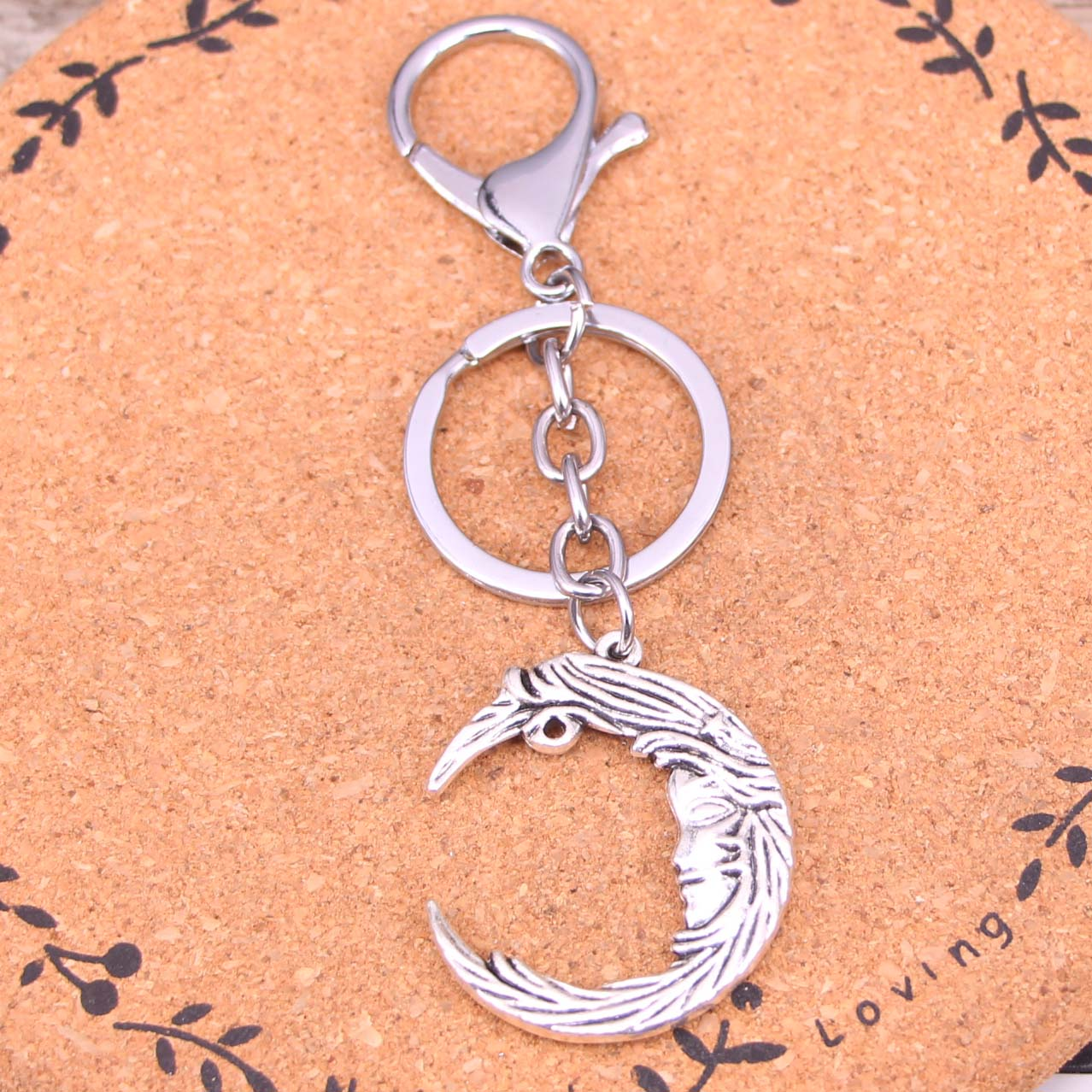 New Fashion Silver Color Alloy Metal Pendant man in the moon face Key Chain Key Ring Gift For Car Keychain Accessory