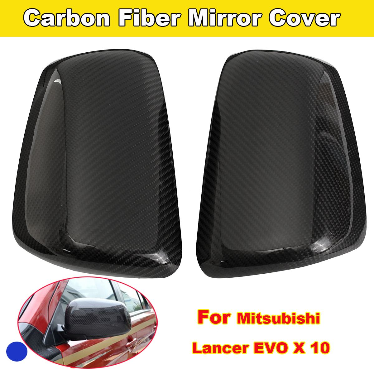 Replacement Car Styling Carbon Fiber ABS Rear Side Door Mirror Cover For For Mitsubishi Lancer EVO X 10 for nissan r35 gtr carbon fiber door mirror inner panel trinagle