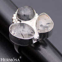 Classic Fashion Jewelry RUTILATED QUARTZ 925 Sterling Silver Engagement Party Banquet Rings 8 HM481