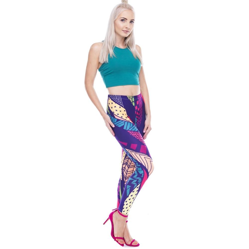 2018 Leg Figure Mujeres Leggings Casual Impreso Moda Geométrica Patrón Mezcla Geometric Figura rpwrPq