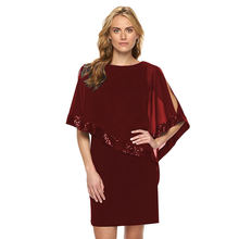 Echoine Party Dress Women Clothes Evening Sexy O-Neck Sequined Cloak Sleeve Loose Short Midi Irregular Ruffle Hem Female Vestido