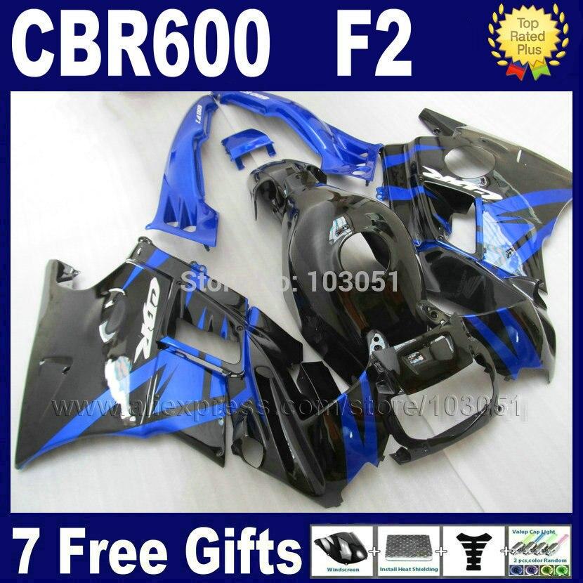 Personnaliser le moteur carénages pour Honda CBR600 F2 1991 1992 1993 1994 CBR 600 F2 92 93 CBR600 F 91 94 noir bleu carénage