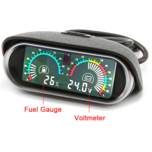 2 in 1 Universal Oil Fuel Gauge Meter Level Horizontal 12v/24v LCD Digital Car Truck Voltmeter gauges for toyota