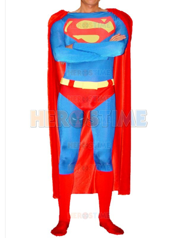 Classic Design Superman Superhero Costume halloween cosplay adult spandex superman costumes the most popular free shipping